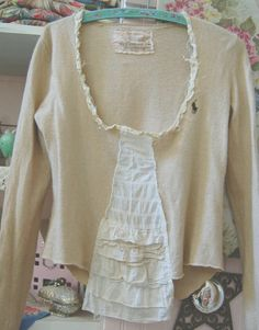 Cashmere Blend Sweater Womens Of Linen and Lace Upcycled Vintage Lace SMALL High End Winter Autumn Shabby Chic Clothing Eco. $63.50, via Etsy.