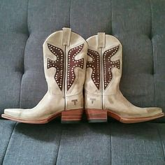 FRYE cowboy boots Leather with suede and pewter studs in the F's. Had the bottoms redone with no slip soles, if you've ever worn these you know they can be dangerously slippery, and were never ever worn after that as you can see. They make such beautiful boots! Frye Shoes