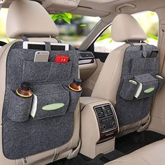 Multi-purpose use as an all-in-one Seat Back Organizer, Kick Mat and Seat Protector! Available in black, gray and cream. Keep clutter away and store all travel essentials in an easy-to-find, easy-to-reach place. 6 pockets in total: 2 for holding drinks and bottles, one for tissues, one for iPad or magazine and 2 smaller pockets for phone, keys and more. Fit most car seats with adjustable headrest, seat back buckle and bottom straps with hooks.