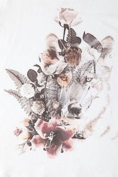 Beautiful tattoo - wolf and flowers