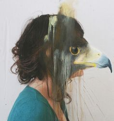 French artist Charlotte Caron makes very interesting paintings. For the works, a combination of photography and painting, she paints animal heads looking like some sort of masks over the faces of photo-portraits that she takes herself. Animal Masks, Animal Heads, Charlotte Caron, Montage Photo, A Level Art, Grafik Design, Teaching Art, Animal Paintings, Acrylic Paintings