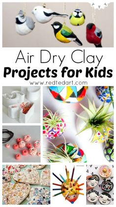 Air Dry Clay Projects - we LOVE working with air dry clay and there are many fabulous air dry clay projects for kids out there to inspire. Here are some the best we have made and found, and hope you like these clay projects too. Perfect for Art Lesson Pla Clay Projects For Kids, Clay Crafts For Kids, Kids Clay, Craft Projects, Arts And Crafts, Diy Crafts, Air Dry Clay Ideas For Kids, Air Dried Clay Projects, Air Dry Clay Crafts