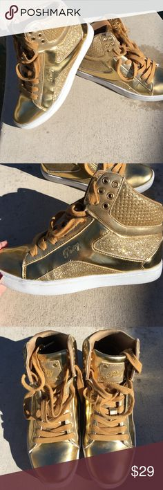 ✨Pastry Metallic Gold High Top Sneakers✨ Bring on the bling with these awesome and chic gold high top sneakers! Metallic gold with gold glitter detail, round toe, white rubber soles. Super comfy and in great condition! Shows some wear but not much on the soles! Super cute and unique! ❤️ Pastry Shoes Sneakers