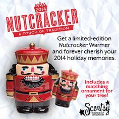 A touch of tradition, this Nutcracker warmer comes with a matching ornament for your tree.  http://dhollingshead.scentsy.us