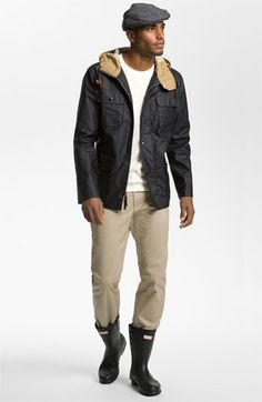 Hunter Waterproof Jacket & AG Jeans Straight Leg Chinos | Nordstrom