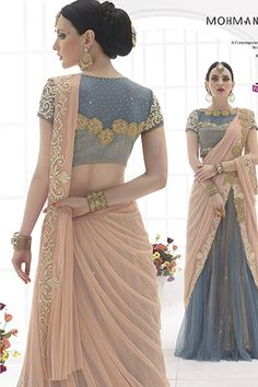 Peach and Grey Net Saree