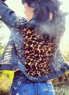 Leopard Spiked Distressed Denim Jacket