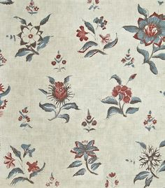 Kaveri Curtain Fabric Natural linen curtain fabric, with turquoise and burgundy floral design.