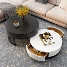Modern Round Coffee Table with Storage Lift-Top Wood Coffee Table with Rotatable Drawers in White&Natural/White & Black/Marble&White - Coffee Tables - Living Room Furniture - Furniture Round Coffee Table Modern, Drum Coffee Table, Black Coffee Tables, Coffee Table Styling, Black Table, Coffee Table With Storage, Table Storage, White Coffee, Stylish Coffee Table