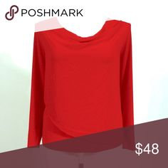 Calvin Klein Red Draped Blouse Calvin Klein Red long sleeve blouse with draped collar and sheer top overlay 1X  but runs large (can fit a 2X 95% polyester 5% spandex - overlay 100% polyester Calvin Klein Tops Blouses
