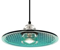 Pendant light made from a traffic light lens and glass insulator, by Hipcycle.
