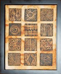 Lino Prints on Tea Bags by Marie Black