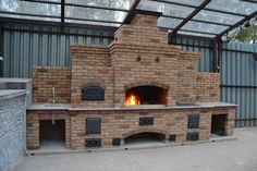 Outdoor Barbeque, Pizza Oven Outdoor, Simple Outdoor Kitchen, Outdoor Kitchen Design, Outdoor Cooking Area, Outdoor Spaces, Outside Living, Outdoor Living, Outdoor Fireplace Designs