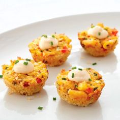 Sweet Corn & Crab Poppers - The Pampered Chef® Try this great recipe for your Super Bowl party this weekend. Contact me for more great recipes. Crab Appetizer, Appetizer Recipes, Snack Recipes, Cooking Recipes, Crab Recipes, Recipies, Hot Appetizers, Salad Recipes, Dinner Recipes