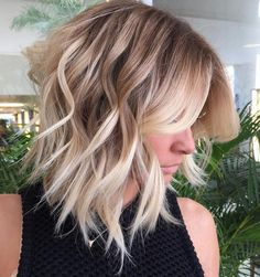 Choppy+Wavy+Blonde+Balayage+Lob