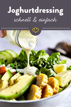 Fast yoghurt dressing - for salad, bowls and co- Schnelles Joghurtdressing – für Salat, Bowls und Co Quick yogurt dressing for your salad - Vinaigrette Salad Dressing, Salad Dressing Recipes, Avocado Dessert, Vegetarian Appetizers, Vegetarian Recipes, Comfort Food, Food Blogs, Cheesecake Recipes, Summer Recipes