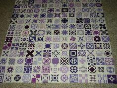 Dear Jane center blocks in shades of purple.