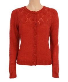 Look what I found on #zulily! Red Clay Diamond-Knit Mohair-Blend Cardigan by Louie et Lucie #zulilyfinds