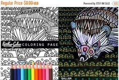 70% Off Today- Hedgehog coloring, animal coloring book, adult coloring book, coloring pages, adult coloring pages, coloring book for adults