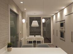 Cocina con barra en península realizada en solid surface. Revestimiento de pared en porcelánico efecto cemento rayado. Pavimento en tarima laminada. Iluminación decorativa en cristal y tela. Proyecto diseñado y desarrollado por AZ diseño.