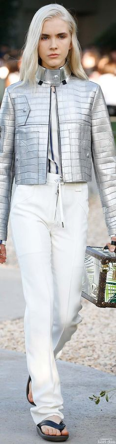 Louis Vuitton ~ Resort High Collar Silver Leather Jacket w White Trousers, 2016