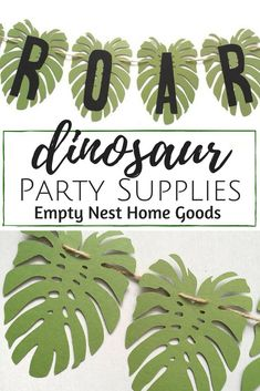 dinosaur party banner, ROAR banner, dino party ideas, jungle leaf decorations, dinosaur party decorations, big leaf banner back drop, jungle leaf photo backdrop // Empty Nest Home Goods // click for more dinosaur party ideas and decorations!