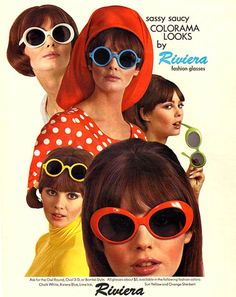 Riviera sunglasses ad, 1966.    Love how the photos are layered/collaged.