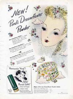 POND'S Dreamflower Powder Cosmetic Ad - 1942 - Cute Lady Illustration #PondsPowder