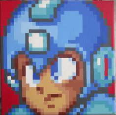 Blue Robot Pixel Painting by pixelartpaintings on Etsy, $90.00