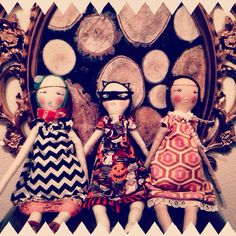 The girls.  Jess Brown inspired, made using a combo of Tilda doll pattern and my own.