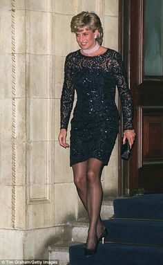 Black out: Princess Diana at the Royal Albert Hall in 2001 and Rihanna attends a New Year 2012 party in a similar black dress design
