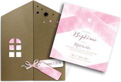 Faire part baptême pochette où vous découvrirez une jolie invitation dans cette maison pour le grand jour de votre fille, ref N91020