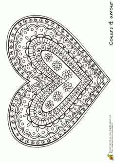 Patterned, Shapes, Doodle, Zentangle Inspired Heart ♥ Coloring Page Coloring Book Pages, Printable Coloring Pages, Coloring Sheets, Doodles Zentangles, Mandala Coloring, Heart Art, Free Coloring, Be My Valentine, Doodle Art