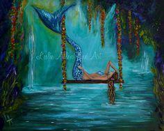 Fantasy Art Mermaid Paintings Art Print by LeslieAllenFineArt, $25.00