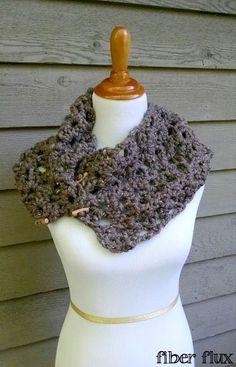 Tweedy Twig Cowl, a free crochet pattern from Fiber Flux