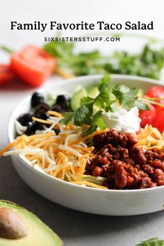 Our Family's Favorite Taco Salad is a flexible recipe that your family can make to your liking. Add as little or as many toppings and vegetables as you would like to this Taco Salad to feed your family a healthy meal! Taco Salad Recipes, Taco Salads, Mexican Food Recipes, Beef Recipes, Dinner Recipes, Healthy Recipes, Ethnic Recipes, Dinner Ideas, Mexican Dishes