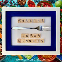 What the fork is for dinner  Personalised Scrabble Frame image 0 Scrabble Frame, Scrabble Art, Scrabble Tiles, Personalized Gifts, Handmade Gifts, Crayon Art, Bank Holiday, Fork, Frames