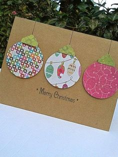 simple Stampin up ON SALE Ornament Card - Paper Handmade Christmas Cards - Handmade Holiday Cards - Blank Christmas Cards. 3d Christmas Tree Card, Homemade Christmas Cards, Christmas Cards To Make, Homemade Cards, Christmas Holidays, Christmas Ornaments, Christmas Card Ideas With Kids, Merry Christmas, Diy Holiday Cards
