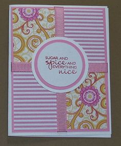 New Baby Girl Card Handmade Greeting Card Stamped by Sassadoodle