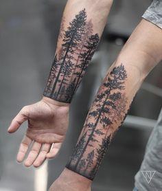 """360 Likes, 27 Comments - Niko.Vaa (@niko.vaa) on Instagram: """"Forest cuff • Thanks Ben #forestcufftattoo #forearmtattoo #phreshink"""""""