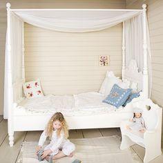 Opsetims Himmelbett - Kinderbett mit Himmel TIMS MEDAILLON, Massivholz, weiß, 90x200cm