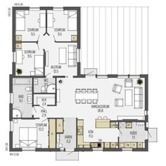 4 Bedroom House Plans, House Floor Plans, Cottage Plan, Sims House, Planer, Sweet Home, Layout, House Design, Flooring