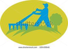 Gardener Landscaper Farmer With Rake - stock vector. #gardener #retro #illustration