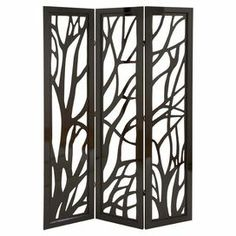"Three-paneled wood screen with branch-inspired cutout detail.  Product: ScreenConstruction Material: WoodColor: Slick brownDimensions: 72"" H x 48"" W x 1"" D"