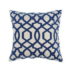 Elisabeth Michael Trellis Hampton Royal Blue 20-inch Decorative Pillow   Overstock.com