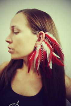 The Rising Phoenix, Handmade Feather Ear Cuff, Feather Earrings, Red, Sexy, Grizzly Feathers, Hippie, Bohemian, Tribal, Aztec. $26.00, via Etsy.