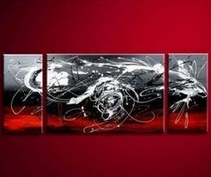 Black and Red Abstract Art, Living Room Wall Art, Modern Art, Living Room Wall Art, Painting for Sale - Art Painting Canvas Red Abstract Art, Abstract Art For Sale, Contemporary Abstract Art, Abstract Canvas, Abstract Paintings, Abstract Landscape, 3 Piece Canvas Art, 3 Piece Wall Art, Large Canvas
