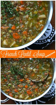French Lentil Soup - The Daring Gourmet French Lentil Soup, French Soup, French Lentils, Lentil Soup Recipes, Lentil Dishes, Vegetarian Recipes, Sushi, Soup And Sandwich, Soup And Salad
