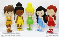Bonecas Fadas Disney de feltro com 30cm de altura. Tags: fadas, Disney, fairies, Tinkerbell, Sininho, Fawn, Iridessa, Rosetta, Silvermist, personagens, handmade, artesanato, feltro, felt, DIY
