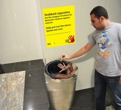 Amnesty International Domestic Violence Against Women - According to research one of the common weapon used to torture woman is cigarette burns. To stop this domestic violence against woman and make people aware of the torture first hand. The smoke bins will be branded with sticker of woman resisting to the torture, and a poster next to it carrying the message - http://www.amnesty.org/campaigns/stop-violence-against-women